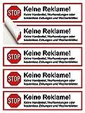 8 Stück Hochwertige STOP Keine Reklame Aufkleber - Bitte keine Werbung und Reklame einwerfen - Werbung nein Danke Klebeschilder - Wasserfest Outdoor und Indoor