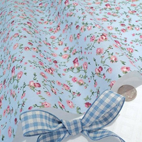 molly-blue-poly-cotton-fabric-with-delicate-pink-flowers-vintage-floral-per-metre-cr8-comercio