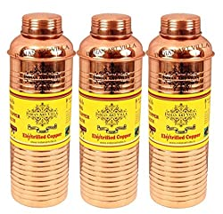 IndianArtVilla Pure Copper Set of 3 Lining Bisleri Design Bottle 800 ML each - Storage Drinking Water Home Hotel Restaurant Benefit Yoga Ayurveda Healing