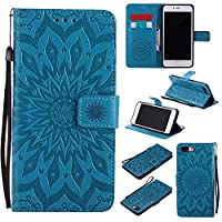 iPhone 7 Plus (5.5 Inch) Case, Dfly Premium Soft PU Leather Embossed Mandala Design Kickstand Card Holder Slot Slim Flip Protective Wallet Cover for iPhone 7 Plus (5.5 Inch) , Blue