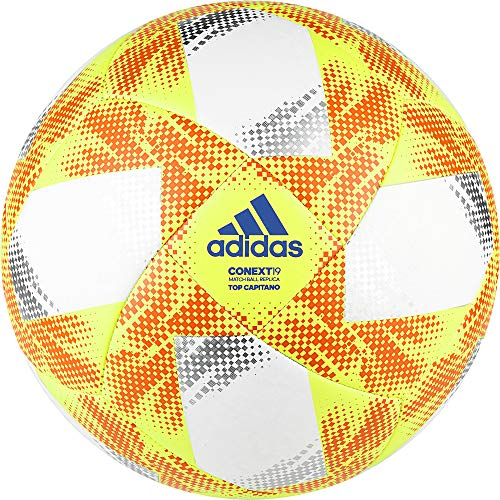 73bad7a8f0cee adidas CONEXT19 TCPT Soccer Ball, Hombre, Top:White Yellow/Solar  Red/Football Blue Bottom:Silver Met, 5