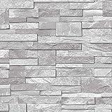 Ardesia, effetto mattoni in pietra, Carta da parati in vinile, lavabile, motivo: sabbia, colore: grigio pietra Grigio