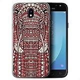 Coque Gel TPU de STUFF4 / Coque pour Samsung Galaxy J5 2017/J530 / éléphant-Rouge Design / Motif Animaux Aztec Collection