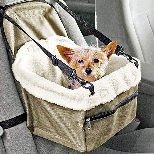 BOENTA Haustier Auto Booster Sitz Hund Autositz Carrier Reisen Outdoor Tasche Käfig Faltbare mit Clip-On Sicherheit Leine Samt Warmhalten -