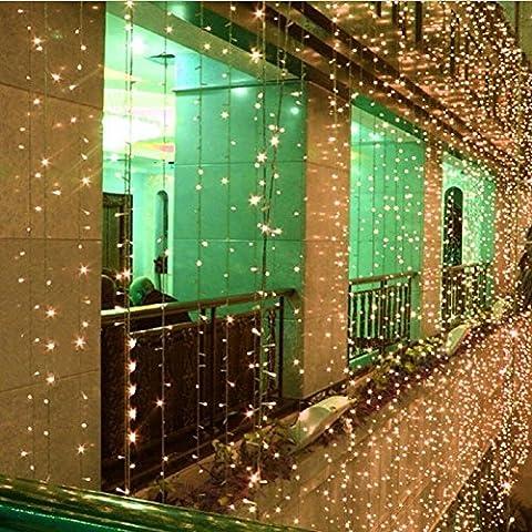 LED Lichtervorhang,SOLMORE Lichterkette Vorhang 4Mx0.6M mit 8 Modi 120LEDs Vorhang Licht Schnur String 220V für Innen Außen Weihnachten Party Hochzeit Home Decoration Garden Weihnachtsbeleuchtung warmweiß