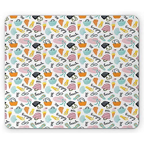Sommer Mauspad, Bunte Komposition mit Strandtaschen Flip Flops Ice Cream Sun Sea, Rutschfester Gummi, 25x30cm Multicolor