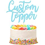 EDSG Personalised Cake Topper Happy Birthday Decorations Double Sided Glitter Card Any Text Customized Wedding Party…