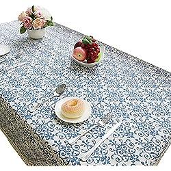 NiSeng Manteles Mesa Rectangular Vintage Mantel Antimanchas para Hosteleria, Jardin, Exterior, Cocina, Fiesta Decoracion para hogar Azul 140x140 cm