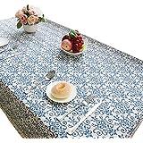 NiSeng Manteles Mesa Rectangular Vintage Mantel Antimanchas para Hosteleria, Jardin, Exterior, Cocina, Fiesta Decoracion para hogar Azul 140x200 cm