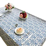 NiSeng Vintage Damask Pattern Rectangle Tablecloth Linen Fabric Lace Table Cloth Kitchen Dinning Picnic Table Cover Blue 55
