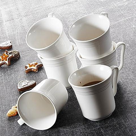 Malacasa, Serie Mario, 24 tlg. Set Kaffeeservice Cremeweiß Porzellan Kaffeetasse Tassen 4,75 Zoll / 12,5*10*9,5cm / 380ml Becher Teetasse Kaffeebecher-Set Bechersets für 24 Personen