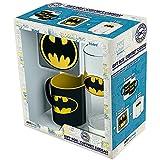Geschenkbox / Geschenkset Batman Logo - 3-teilig (Glas, Tasse, Untersetzer) - Geburtstag, Weihnachten, Ostern, Nikolaus