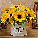 7teste bellezza falso girasole fiore di seta artificiale bouquet casa decorazione floreale
