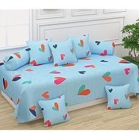 Castiqa Microfibre Unique Patterns Diwan Set Covers 8 Pcs Set of 1 Bedsheet 2 Bolsters and 5 Cushion Covers (Blue)