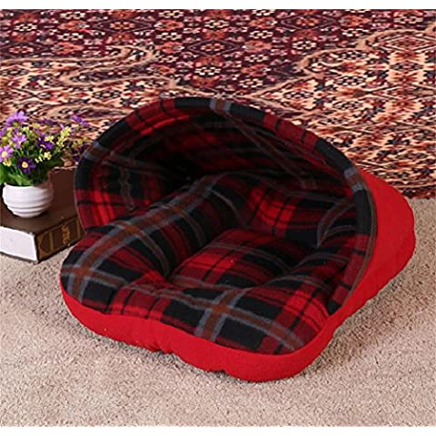 Morbido pile autunno e inverno Lattice gatto rosa caldo nido carina morbido Kennel , red , 50*40*30 - 2 Pollici Kennel Pet Pad