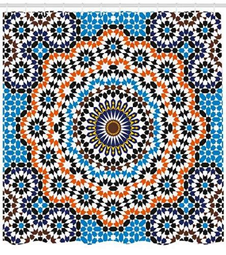 ABAKUHAUS Jahrgang Duschvorhang, Marokkanische Keramik-Fliese, Bakterie Schimmel Resistent inkl. 12 Haken Waschbar Stielvoller Digitaldruck, 175 x 200 cm, Multicolor - 12x12-keramik-fliese