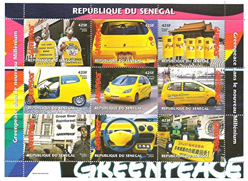 greenpeace-hoja-de-sellos-de-recuerdo-con-fotos-de-varios-greenpeace-mitines-senegal-2000