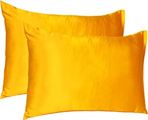 Oussum Satin 300 TC Pillow Cover, Standard - 20 x 26 Inch, Yellow