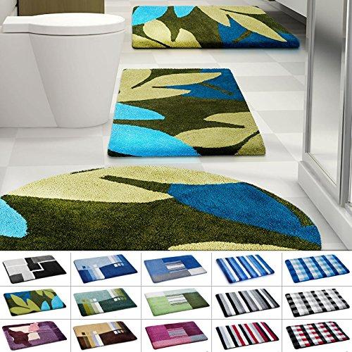 Design Badematte | rutschfester Badvorleger | viele Größen | zum Set kombinierbar | Öko-Tex 100 zertifiziert | viele Muster zur Auswahl | Blätter - Grün - Blau (50 x 60 cm)