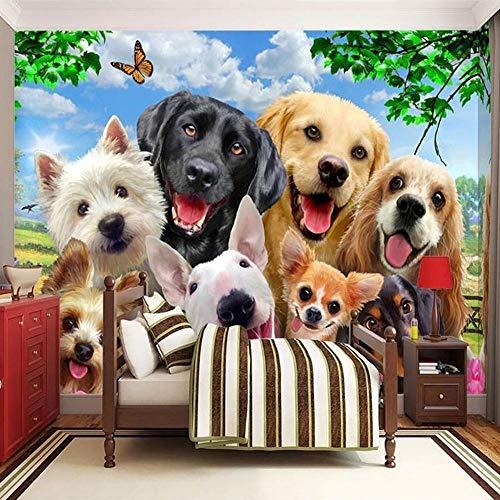 Wallpaper-YC Fototapete Wandbild 3D Süße Hunde200×140CM für TV Sofa Hintergrund Wohnzimmer