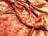 Pannesamt Velour Gewebematerial - rostrot - Orange, 1/4Mtr