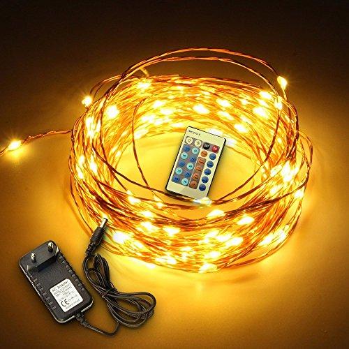 SOLMORE LED Lichterketten Warmweiß Drahtlichterkette Lichterdraht Schnur Licht String Kupferdraht 100LED 10M Garten Hochzeit Party IP44+24 Key Fernbedienung Warmweiß