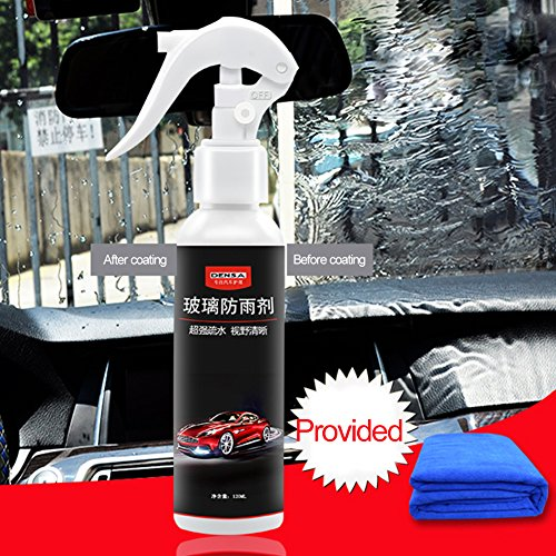 Anti Regen Spray für Auto Car Front Windschutzscheibe Anti-Regen-Agent Rückspiegel abweisendes Mittel (mit einem Handtuch, 120ml)