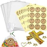 100pcs Petit Sac Sachet Bonbon Pochette Transparents avec 100 Merci Étiquettes et Liens,Sachet d'emballage Cellophane pour Bi