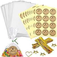 100pcs Petit Sac Sachet Bonbon Pochette Transparents avec 100 Merci Étiquettes et Liens,Sachet d'emballage Cellophane…