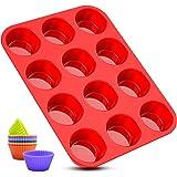 Moule muffin,moulle silicone patisserie 12 cannelés mini cupcakes moules lot avec effet antiadhésif réutilisables,pour savon,