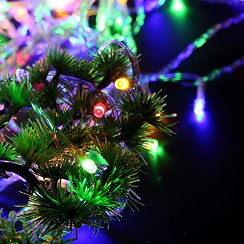 Yorbay LED Lichterkette 200 LEDs Bunt IP44 wasserdicht aus Kupferdraht mit 8 Modi für Weihnachten, Party, Hochzeit, Haus Dekoration, Innen & Außen