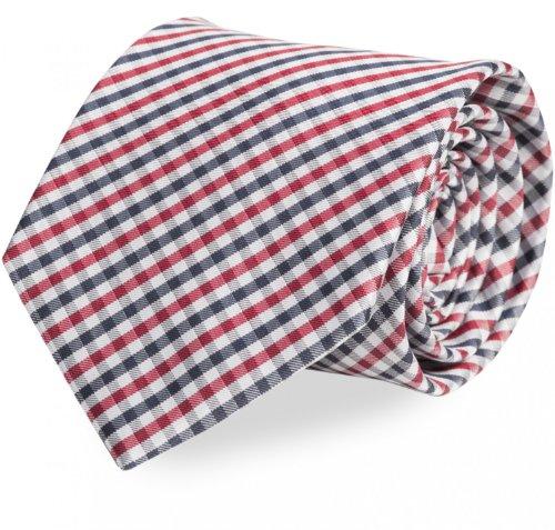 Fabio Farini rot-grau-schwarz karierte 8 cm Krawatte, Anzug, Buisness, Hochzeit