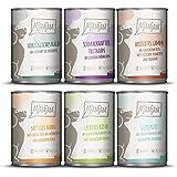 MjAMjAM Mangime Umido per Cani, Mix Pack II 1 Pollo & Anatra, 1 Bovino, 1 Tacchino e Riso, 1 Vitello, 1 Tacchino e Carotine,