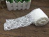 Yulakes 10 Yards Weiß Spitzenborte Spitzenband Zierband Stretch Spitze Blume Borte Hochzeit lace trim Deko band,Handwerk, Schleifband 7cm Breite