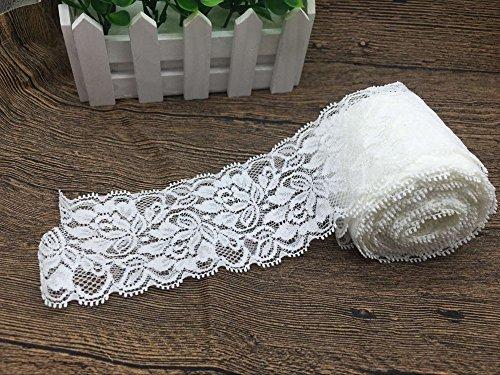 yulakes 10yardas blanco de encaje de cuentas cinta de encaje elástico flores de encaje trenzado cinta de encaje decoración de boda, Craft, molienda cinta 7cm ancho