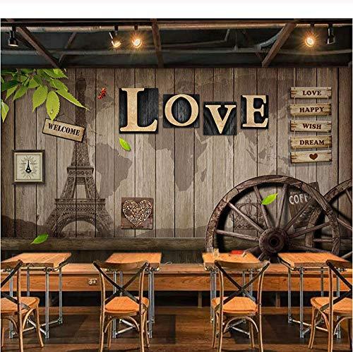 Benutzerdefinierte Wandbild Tapete Retro Europäischen Stil Cafe Esszimmer Wohnzimmer Wandbild 3D Liebe Holz Rad Hintergrund Decor Wandmalerei -