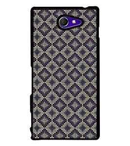 Fuson Premium 2D Back Case Cover Purple colour Hexagon pattern With black Background Degined For Sony Xperia M2 Dual D2302::Sony Xperia M2