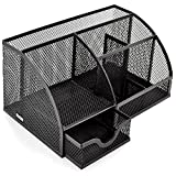 #5: VALAM 6 compartment Metal Mesh Desk Organizer with Drawer