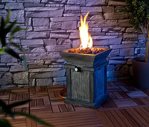 Carlo Milano Feuerschale: Kompaktes Gas-Heiz- & Dekofeuer für Terrasse und Garten (Gaskamin); - 6