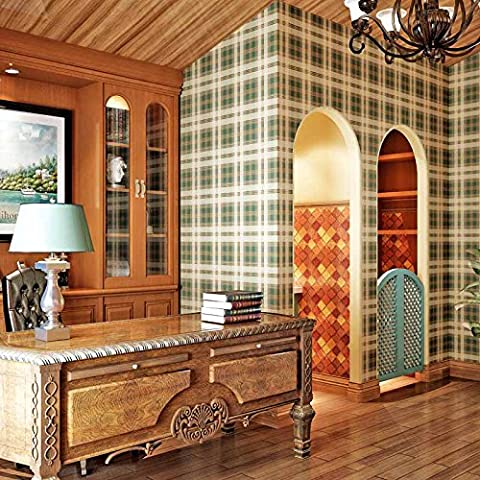 American British Eastern Mediterranean Style papier ordinaire papier peint rétro Tartan Plaid Chambre à coucher Salon papier peint