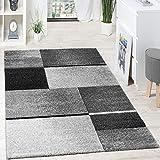 Paco Home Designer Teppich Hochwertig Kariert Konturenschnitt Meliert Anthrazit Grautöne, Grösse:120x170 cm
