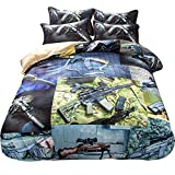DOTBUY Bettbezug Set, 4 Teilig Bettwäsche 220 x 240cm Militär Gemütlich Printing Bettbezug-Set (220 x 240cm, Waffe)