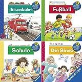 Ravensburger Mini-Bilderspaß 47 - Wieso? Weshalb? Warum? 4 (4er-Set): Eisenbahn, Fußball, Schule, Die Sinne