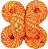 #7: M.G Acrylic Knitting Wool, (Multi Orange no.283 Pack of 6 Baby Soft Wool Ball Hand knitting wool / Art Craft soft fingering crochet hook yarn, needle knitting yarn thread dyed
