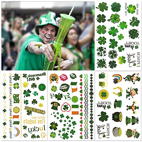 Howaf Über 163pcs Kleeblatt Tattoo, Cheerleader Tatttoo Glückstattoo Tätowierungs Aufkleber wasserdicht Irish temporäre tattoos körper sticker für Frauen männer Kinder st. patricks day ()