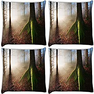 Snoogg Green Roots Pack Of 4 Digitally Printed Cushion Cover Pillows 14 X 14 Inch