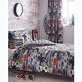 Kidz Club Jugendliche Einzelbett Bettbezug und Kissenbezüge Bettwäsche-Set Cool Skateboards und Graffiti Bettbezug Set-Tricks, grau