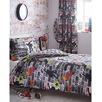 kidz club jugendliche einzelbett bettbezug und kissenbez ge bettw sche set cool skateboards und. Black Bedroom Furniture Sets. Home Design Ideas