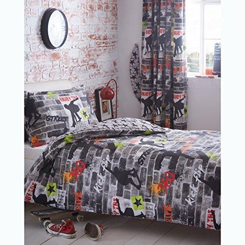 Kidz Club Jugendliche Einzelbett Bettbezug und Kissenbezüge Bettwäsche-Set Cool Skateboards und Graffiti Bettbezug Set–Tricks, grau (Komfort Bettwäsche Kissenbezüge)