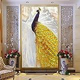 Amazhen Benutzerdefinierte Tapete Gold Peacock Wandbild Wohnzimmer Eingang Korridor Home Decor 3D Wandmalerei,200cm*140cm
